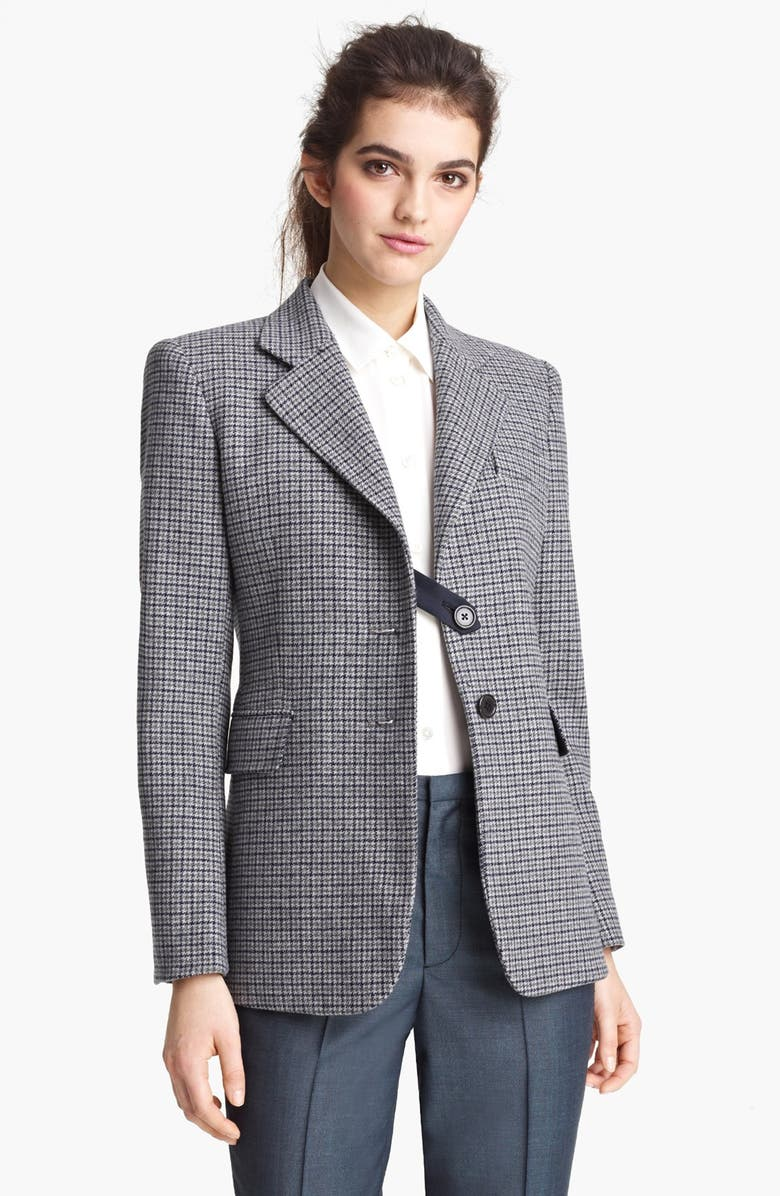MARC JACOBS Houndstooth Wool Blazer, Main, color, GREY