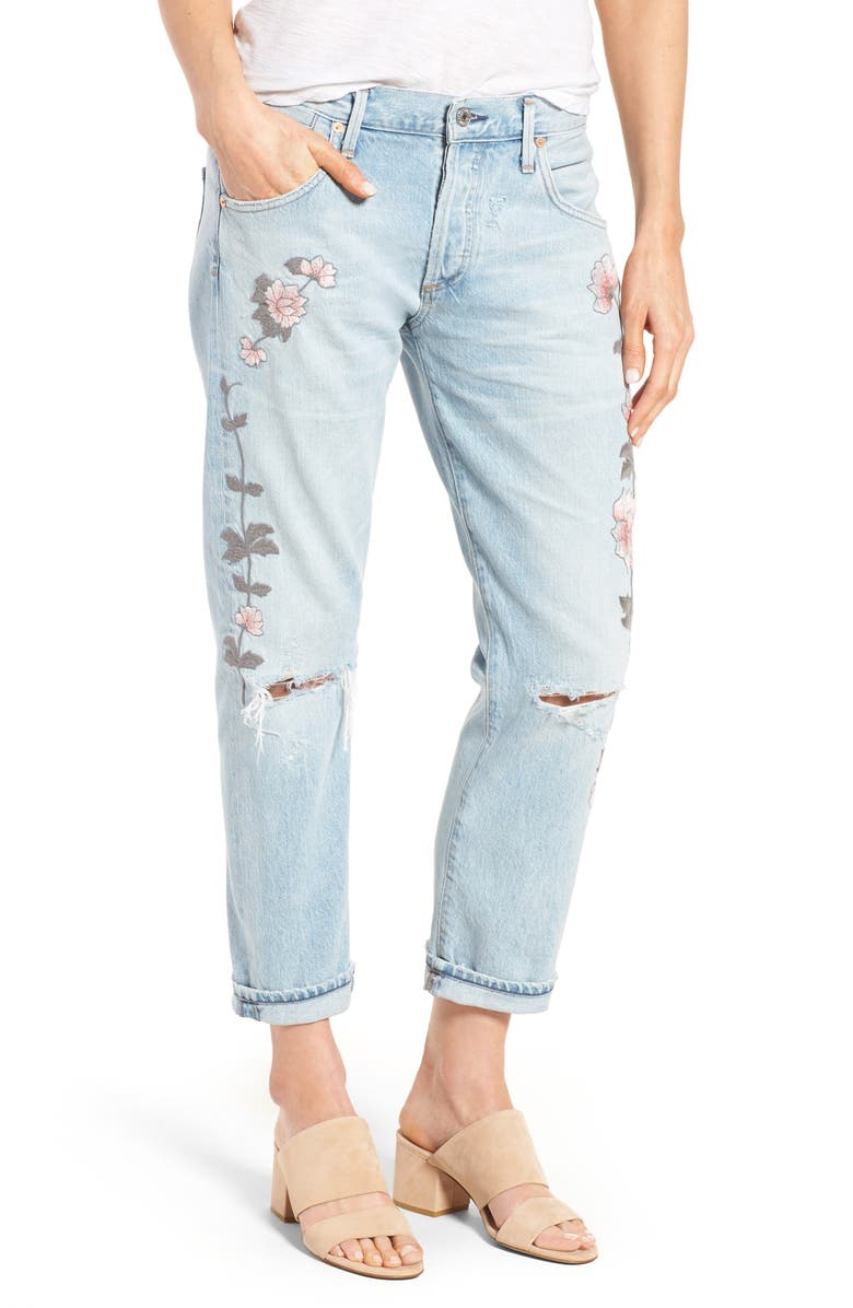CITIZENS OF HUMANITY Emerson Slim Boyfriend Jeans, Main, color, DISTRESSED ROCK ON ROSES