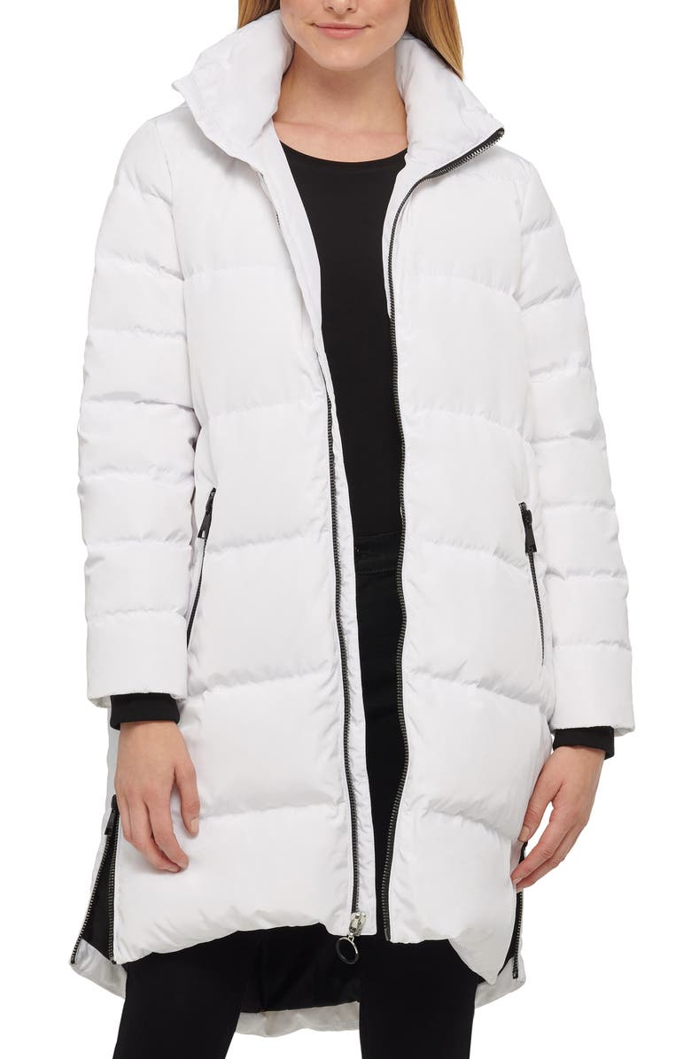 KARL LAGERFELD PARIS Wide Channel Down & Feather Puffer Coat with Removable Hood, Main, color, WHITE