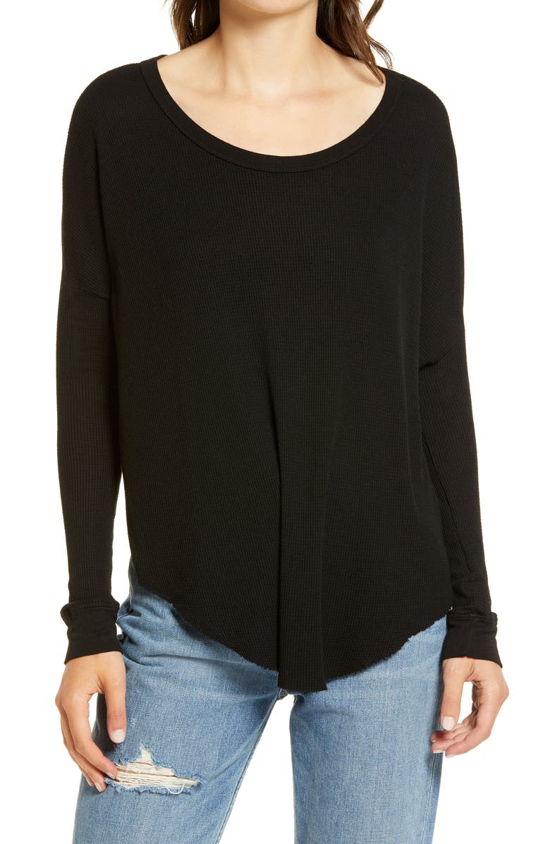WILDFOX Perry Thermal Tunic Top, Main, color, JET BLACK