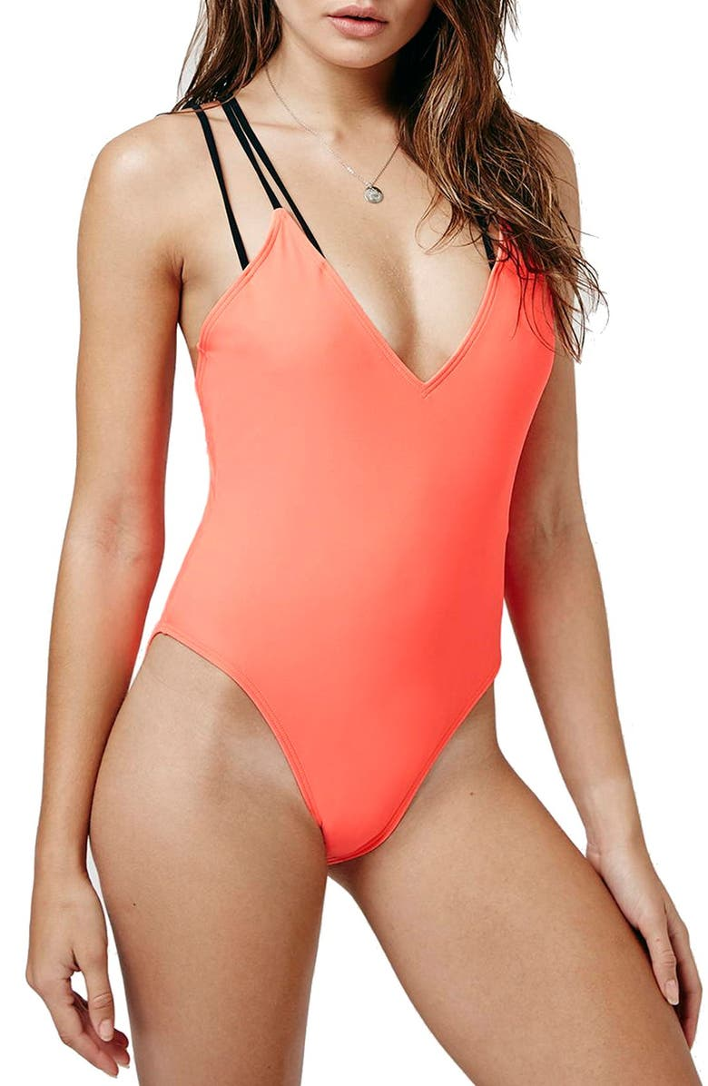 TOPSHOP Strappy Cross Back One-Piece Swimsuit, Main, color, 950