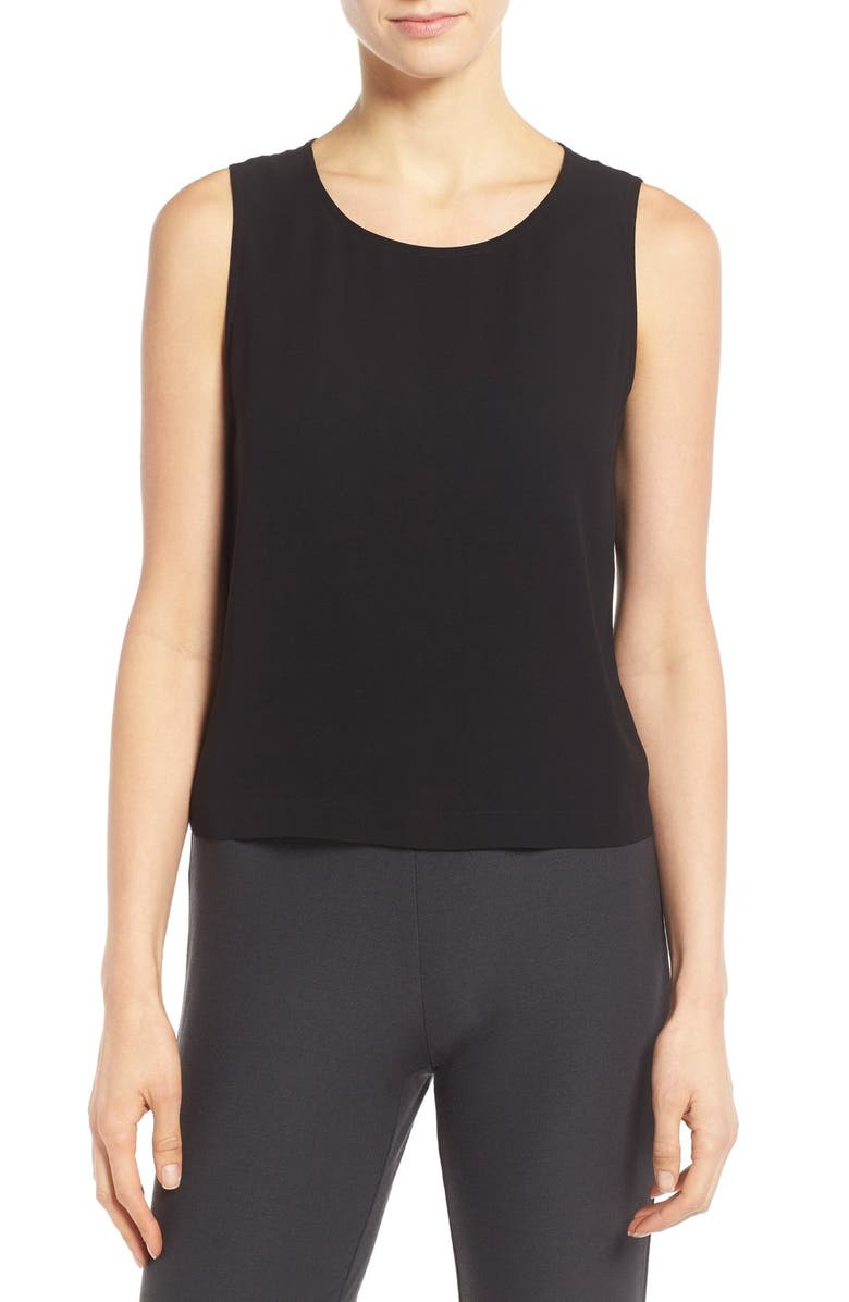 EILEEN FISHER Silk Round Neck Shell, Main, color, 001