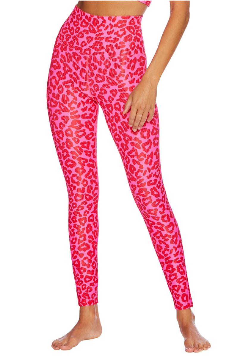 BEACH RIOT Ayla Leopard Print Ribbed Leggings, Main, color, FAMOUS HIGH RISK RED LEOPARD