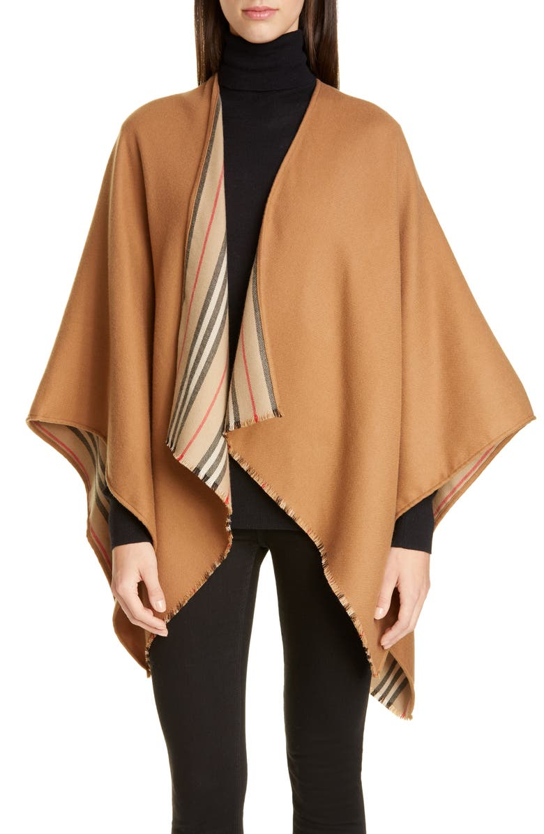 BURBERRY Icon Stripe Reversible Wool Cape, Main, color, 200