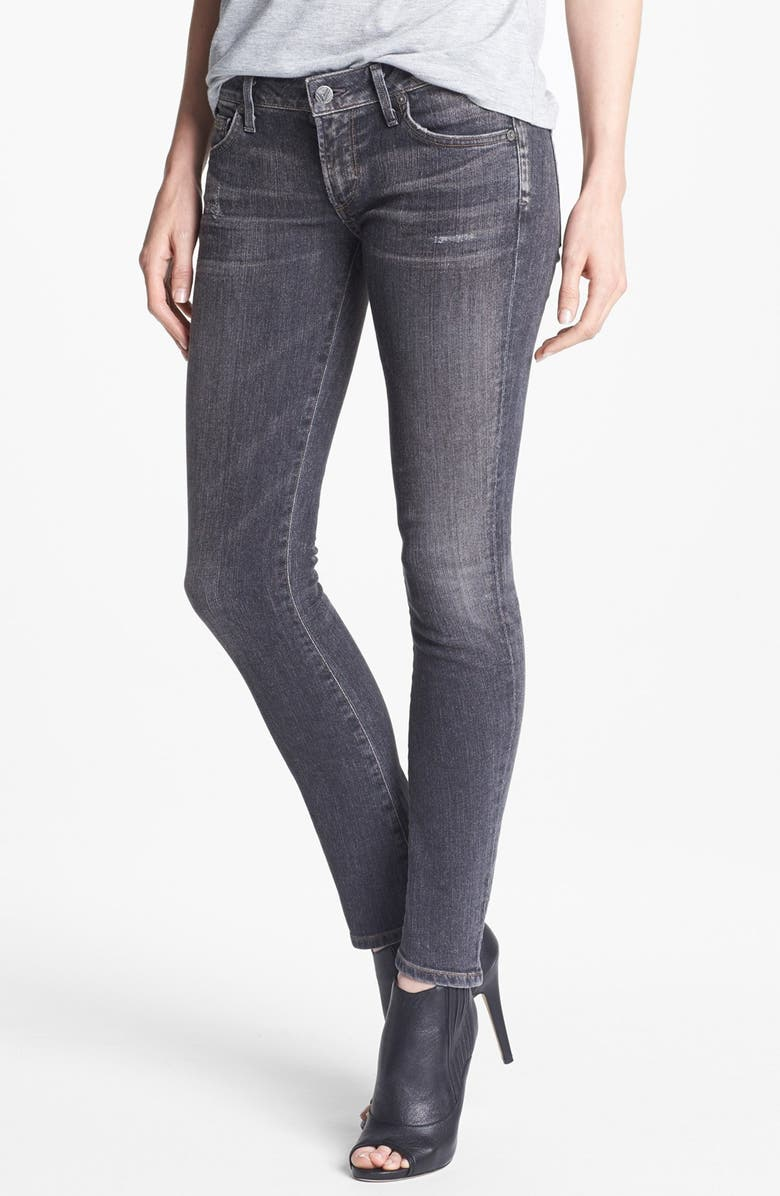 CITIZENS OF HUMANITY 'Racer' Low Rise Skinny Jeans, Main, color, BLACK SLASH