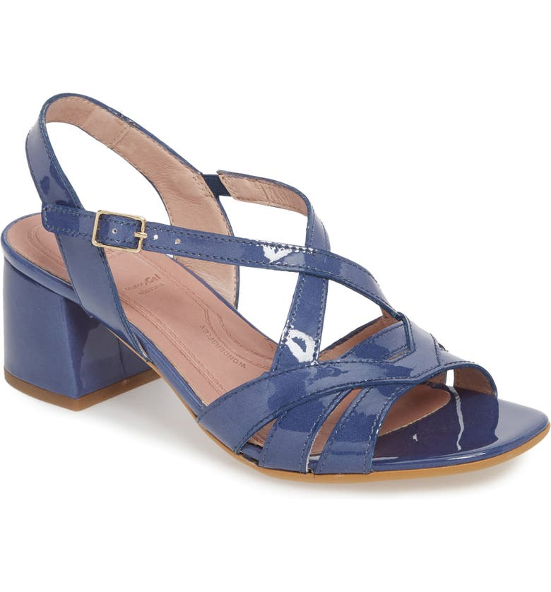WONDERS Block Heel Sandal, Main, color, JEAN PATENT LEATHER