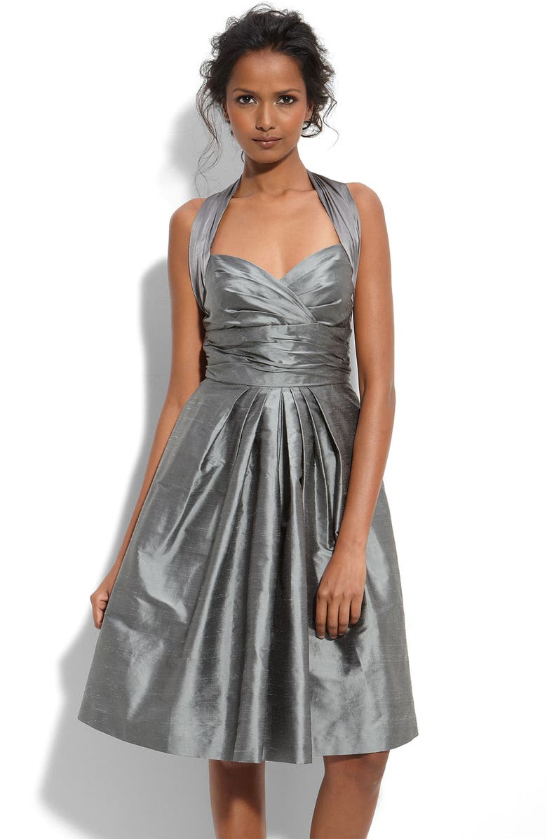 SUZI CHIN FOR MAGGY BOUTIQUE Charmeuse & Shantung Halter Dress, Main, color, 040