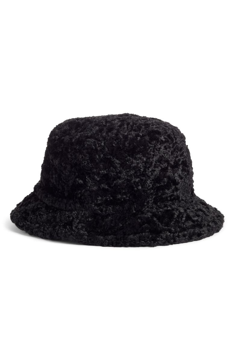 KATE SPADE NEW YORK faux shearling bucket hat, Main, color, 001