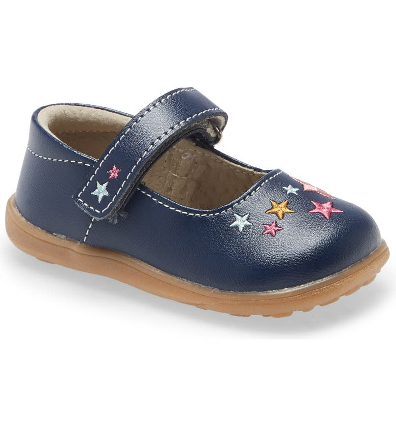 SEE KAI RUN Ginny Embroidered Metallic Mary Jane, Main, color, NAVY/ STARS