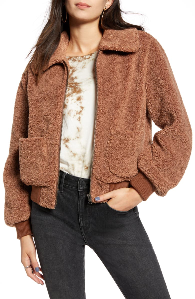 TREASURE & BOND Faux Shearling Teddy Jacket, Main, color, 235