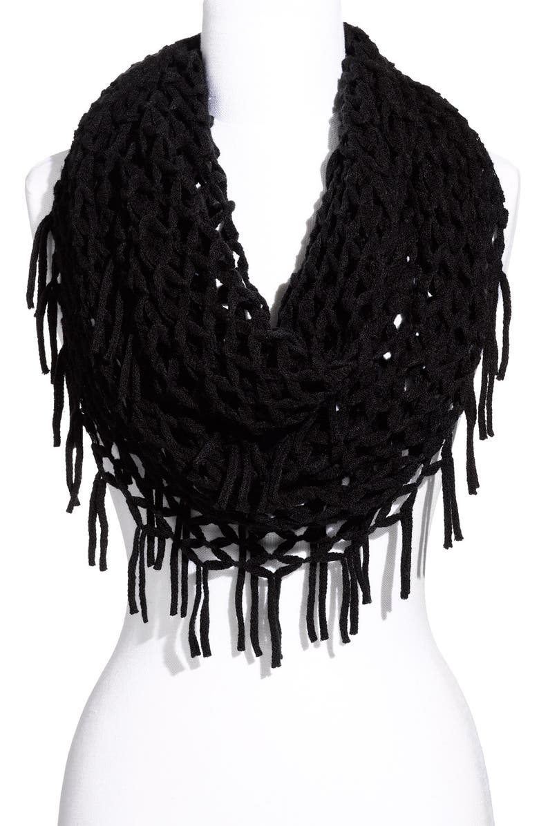 DAVID & YOUNG Airy Woven Fringed Infinity Scarf, Main, color, Black