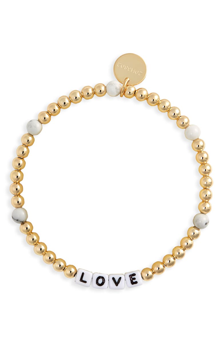 LITTLE WORDS PROJECT Love Beaded Stretch Bracelet, Main, color, GOLD