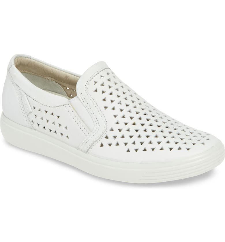ECCO Soft 7 Laser Cut Slip-On Sneaker, Main, color, WHITE LEATHER