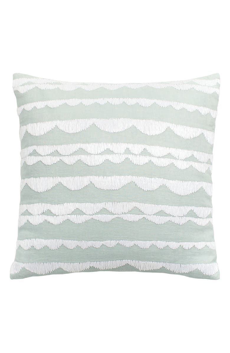 KATE SPADE NEW YORK embroidered scallop accent pillow, Main, color, 400