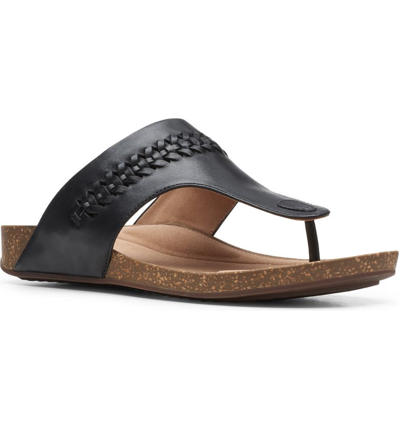 CLARKS<SUP>®</SUP> Un Perri Vibe Flip Flop, Main, color, BLACK LEATHER