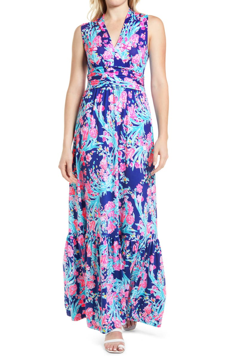 LILLY PULITZER<SUP>®</SUP> Pearce Sleeveless Midi Dress, Main, color, CORSICA BLUE TOUCAN PARTY