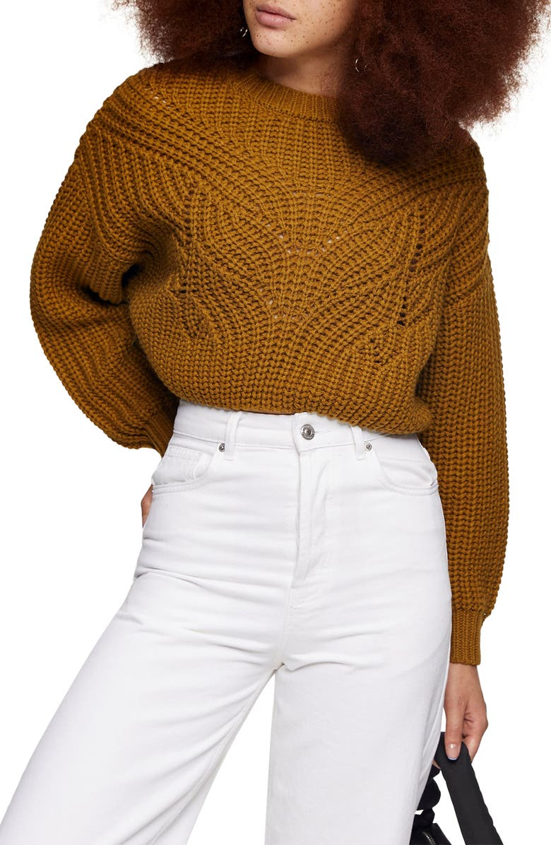 TOPSHOP Butterfly Super Crop Sweater, Main, color, 700