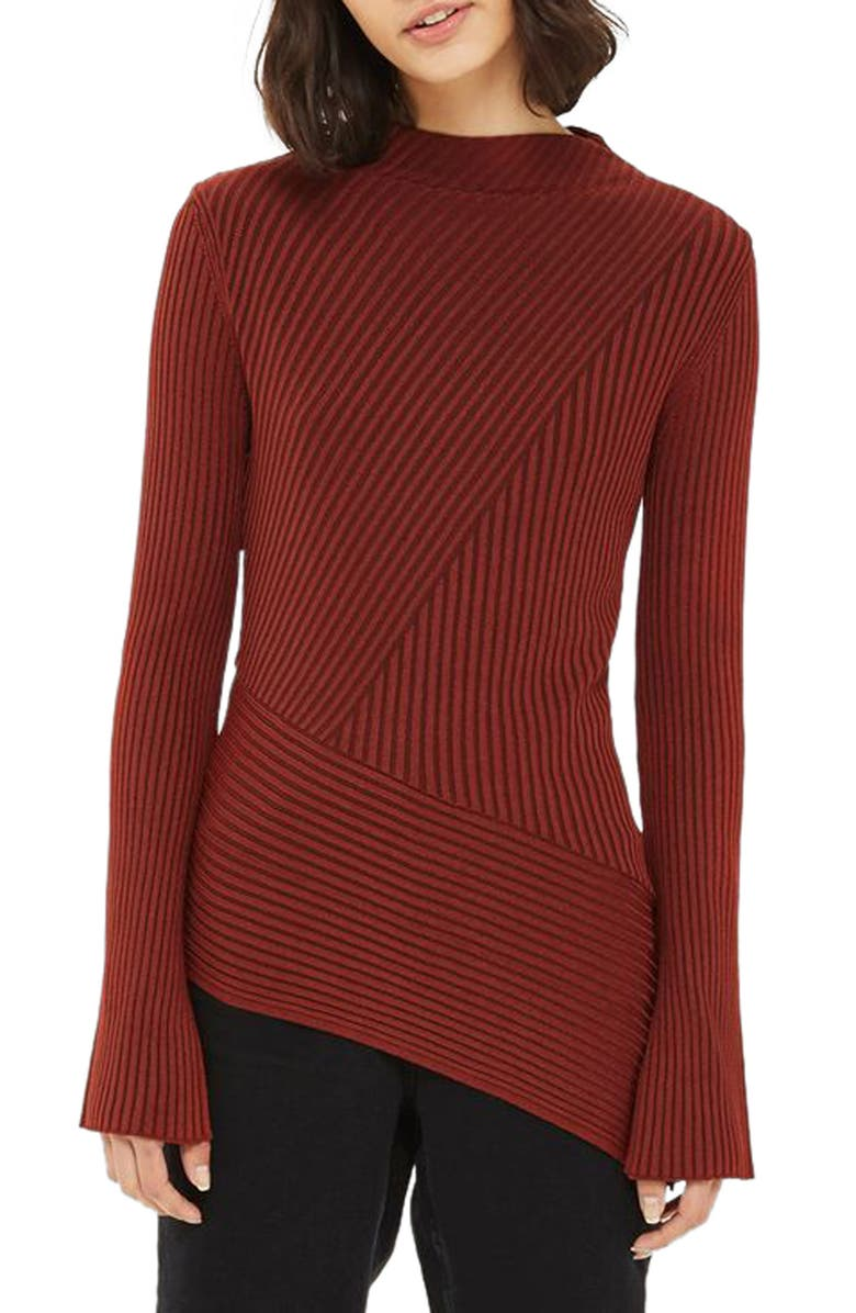 TOPSHOP Asymmetrical Ribbed Sweater, Main, color, 220