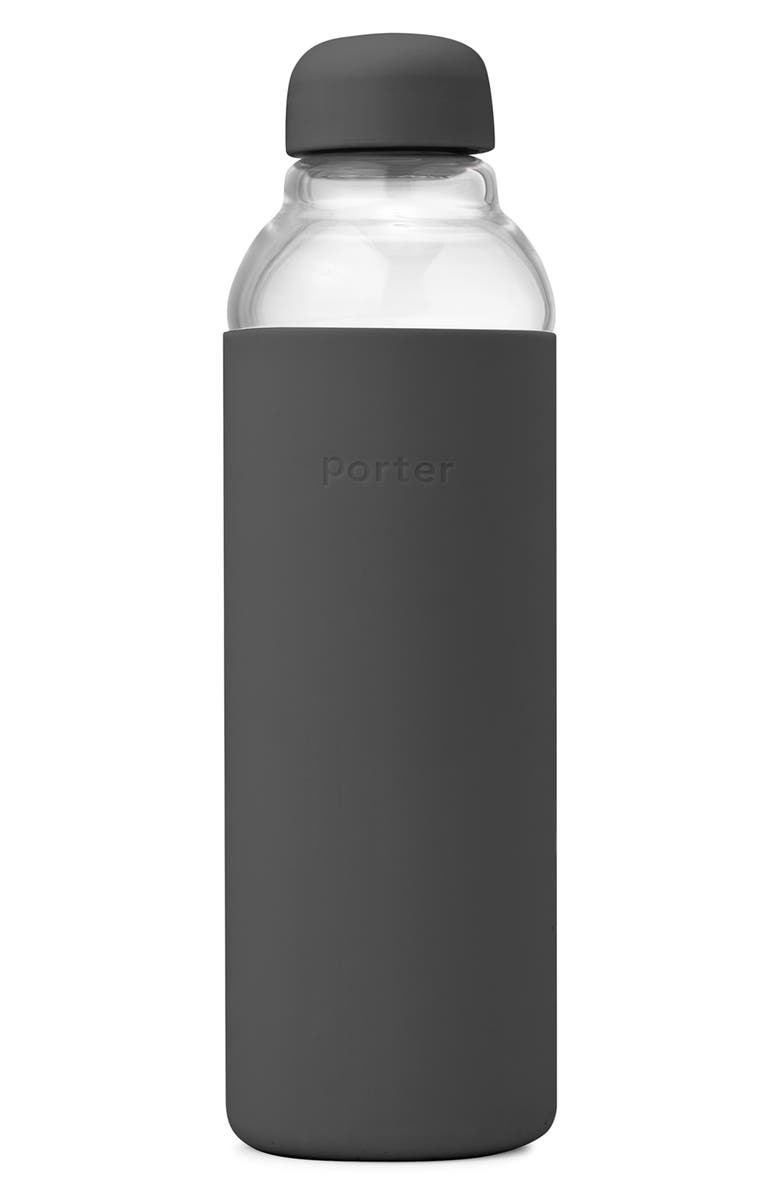 W&P DESIGN Porter Resusable Glass Water Bottle, Main, color, CHARCOAL