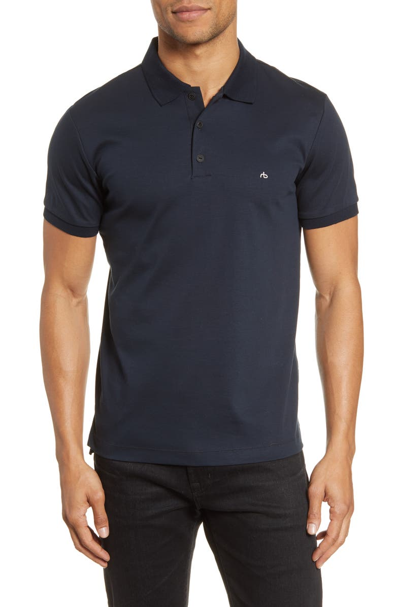 RAG & BONE Interlock Slim Fit Heathered Polo Shirt, Main, color, NAVY