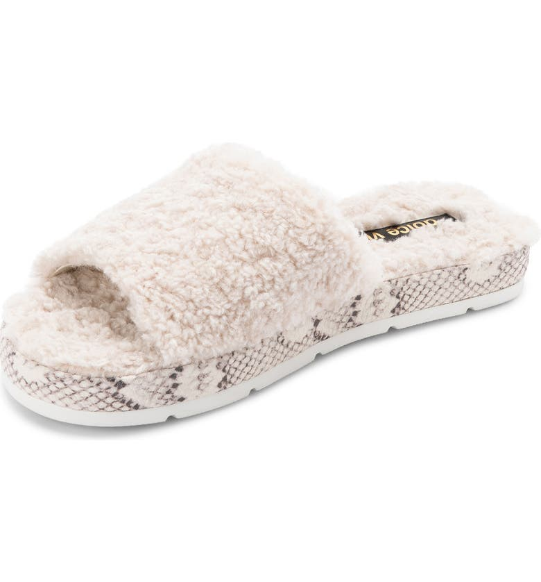 DOLCE VITA Faux Fur Platform Slide Slipper, Main, color, OFF WHITE PLUSH