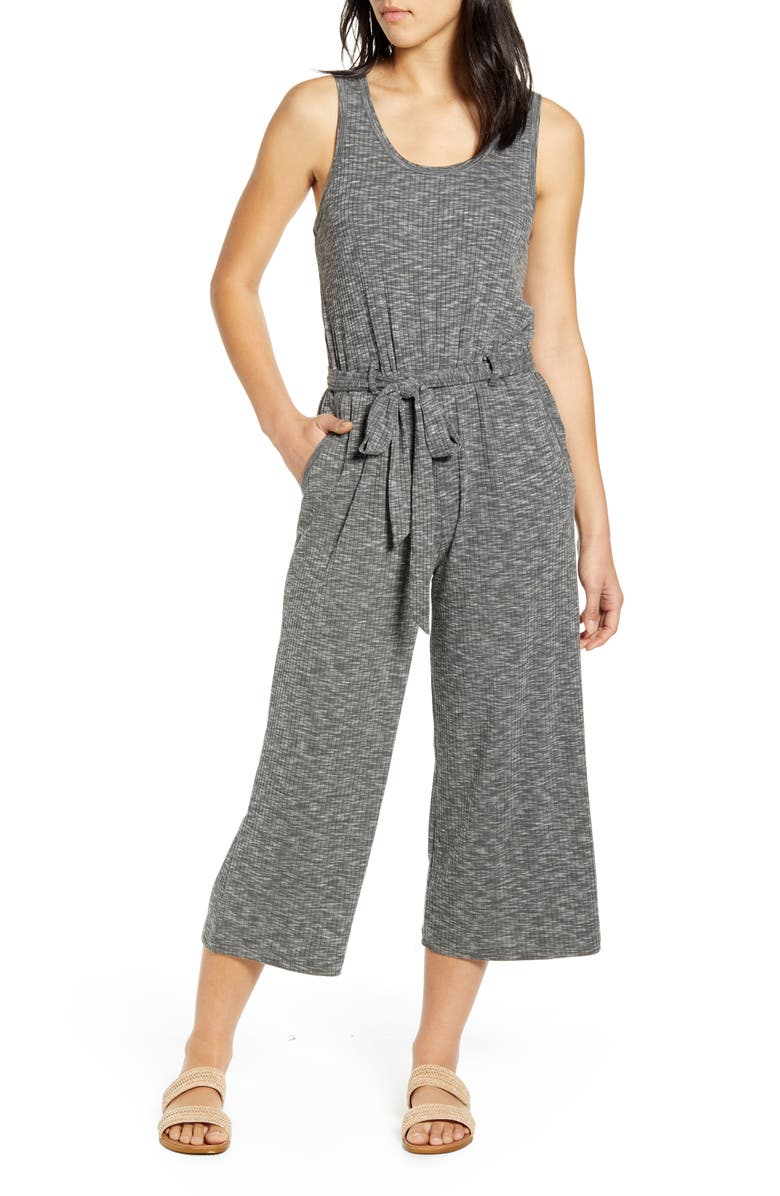 BOBEAU Devin Mélange Rib Jumpsuit, Main, color, GRAPHITE