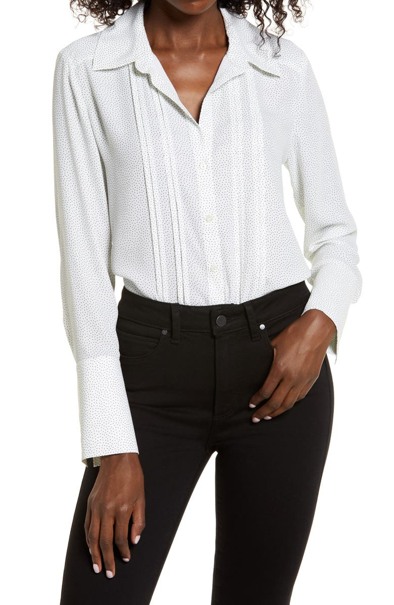 CHELSEA28 Pintuck Button-Up Blouse, Main, color, IVORY LILY DOT