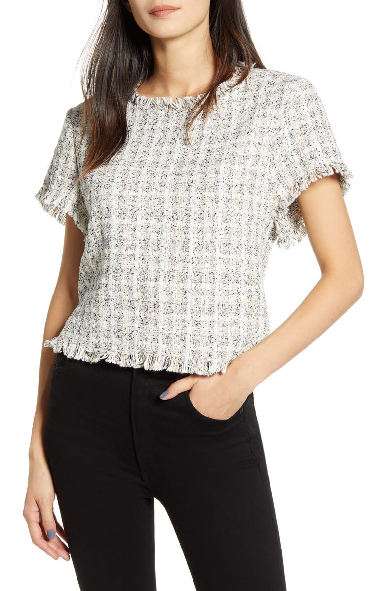 CUPCAKES AND CASHMERE Valeska Tweed Short Sleeve Top, Main, color, 900