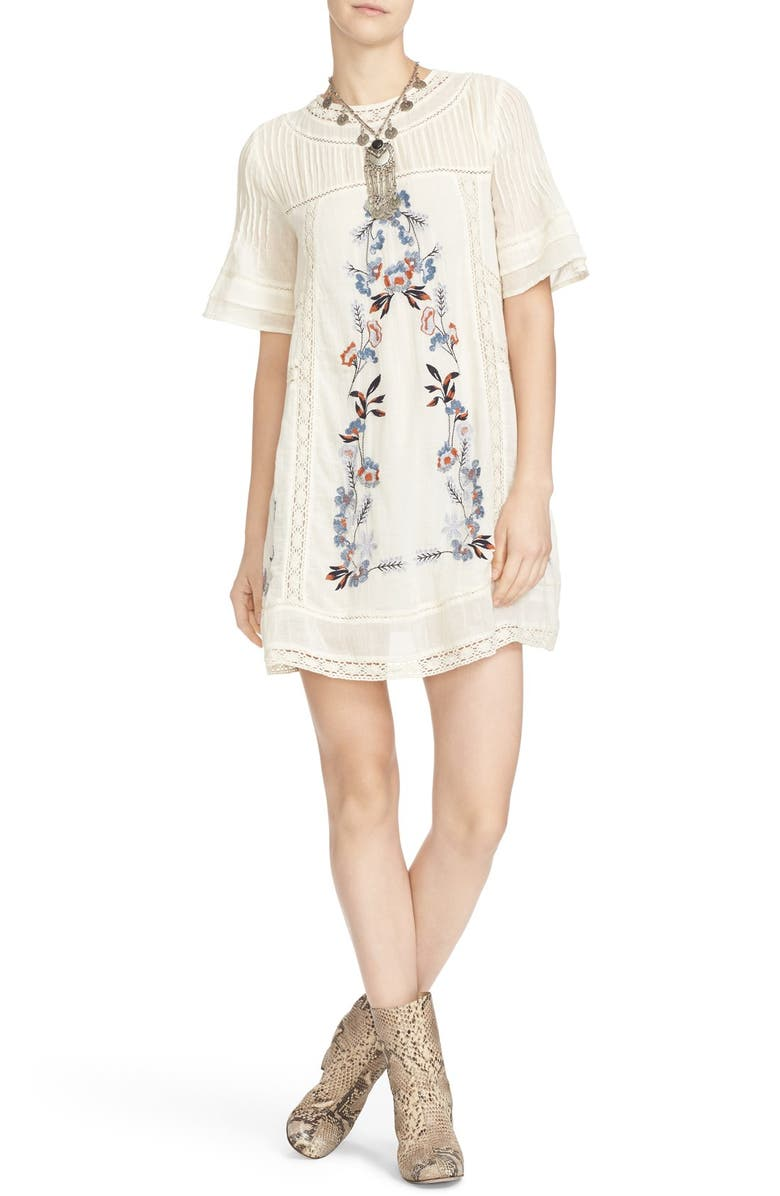FREE PEOPLE 'Perfectly Victorian' Minidress, Main, color, CREAM