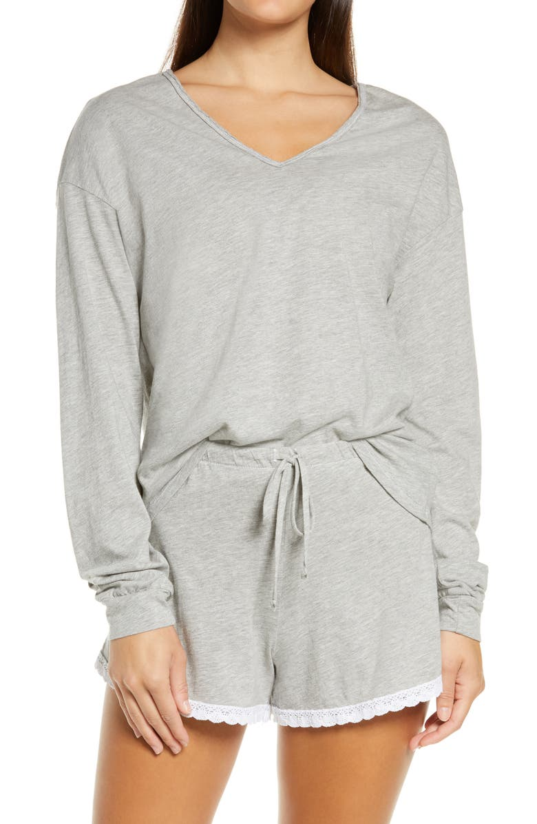 PROJECT SOCIAL T Crush on You Lace Trim Shorts Pajamas, Main, color, GREY