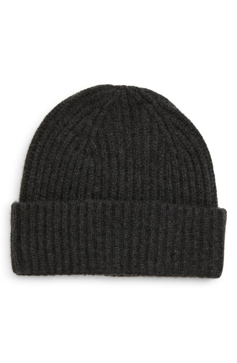 NORDSTROM Cashmere Cuff Beanie, Main, color, CHARCOAL