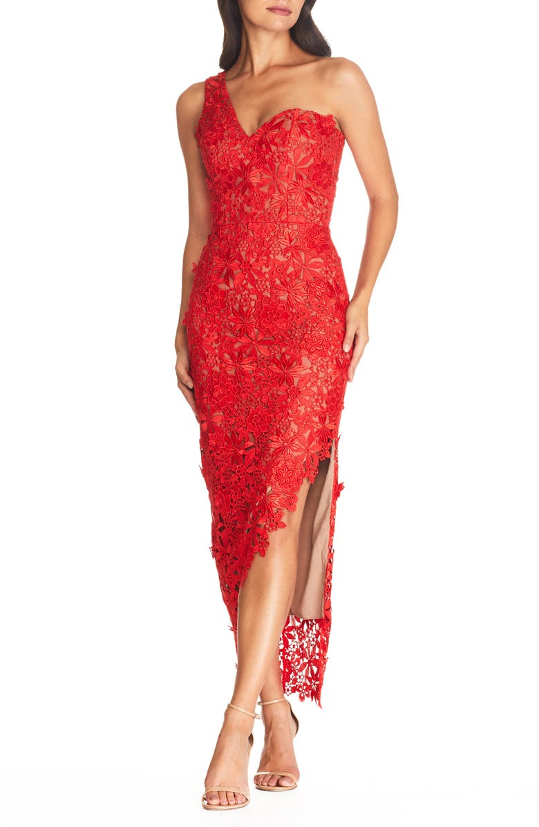 DRESS THE POPULATION Magnolia One Shoulder Lace Bodycon Gown, Main, color, ROUGE