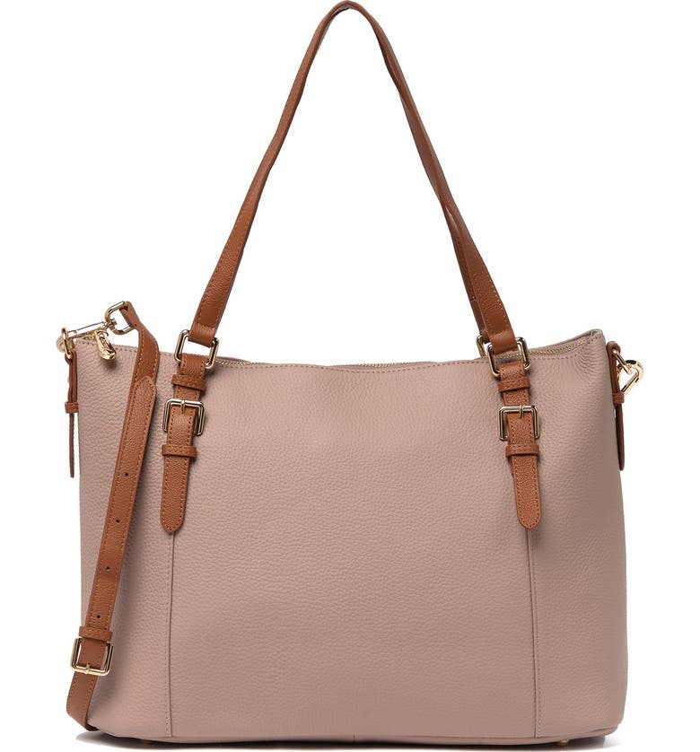 VICENZO LEATHER Love Leather Shoulder Tote, Main, color, PALEPINK-BROWN