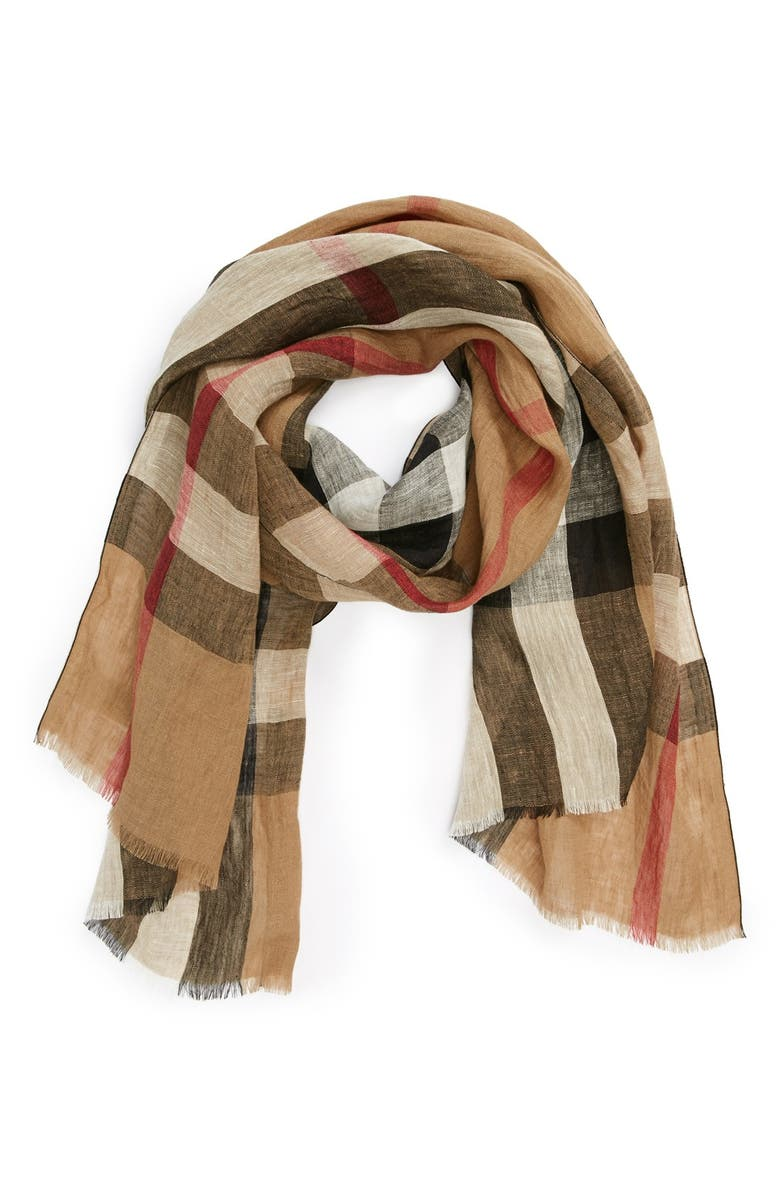 BURBERRY 'Giant Exploded Check' Linen Scarf, Main, color, 003