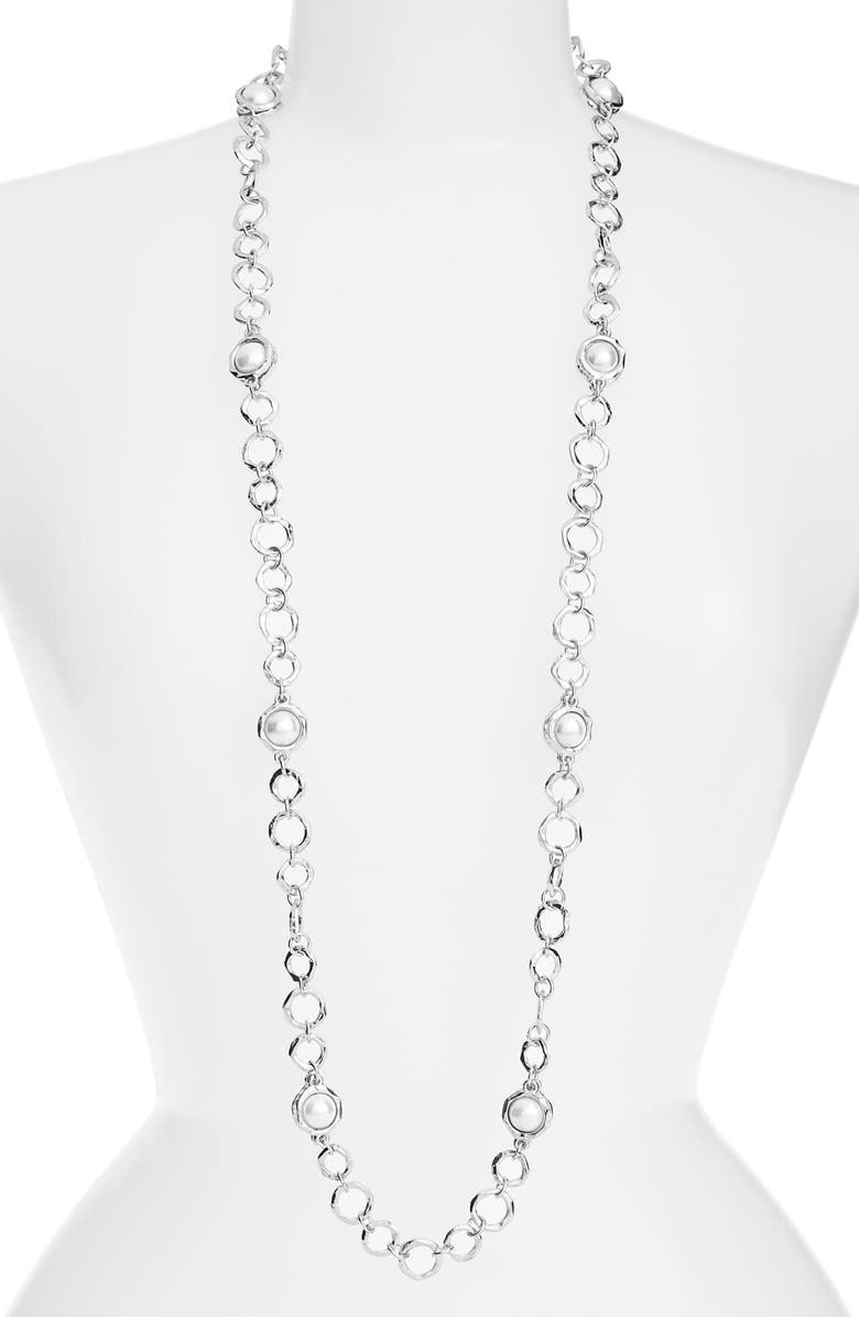 KARINE SULTAN Long Imitation Pearl Necklace, Main, color, Silver