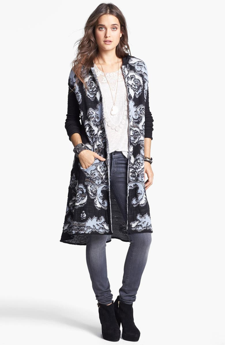 FREE PEOPLE 'After the Storm' Hooded Cardigan, Main, color, BLACK COMBO