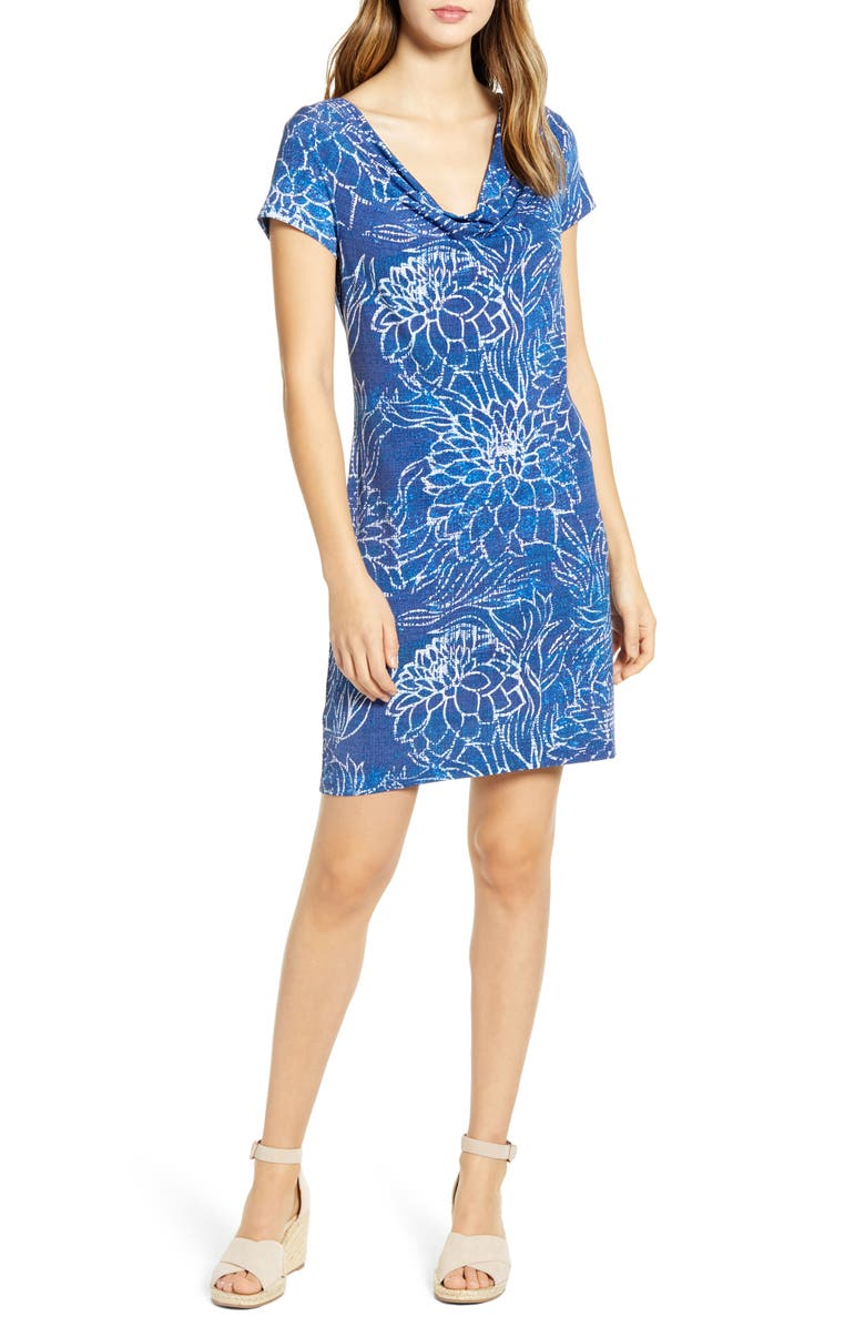 TOMMY BAHAMA Bungalow Blooms Cowl Neck Dress, Main, color, ISLAND NAVY