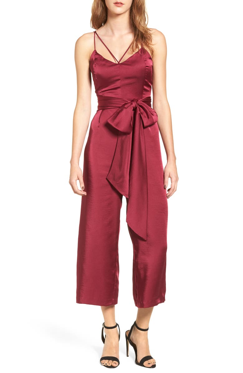 LOST INK Strappy Satin Jumpsuit, Main, color, FUCHSIA