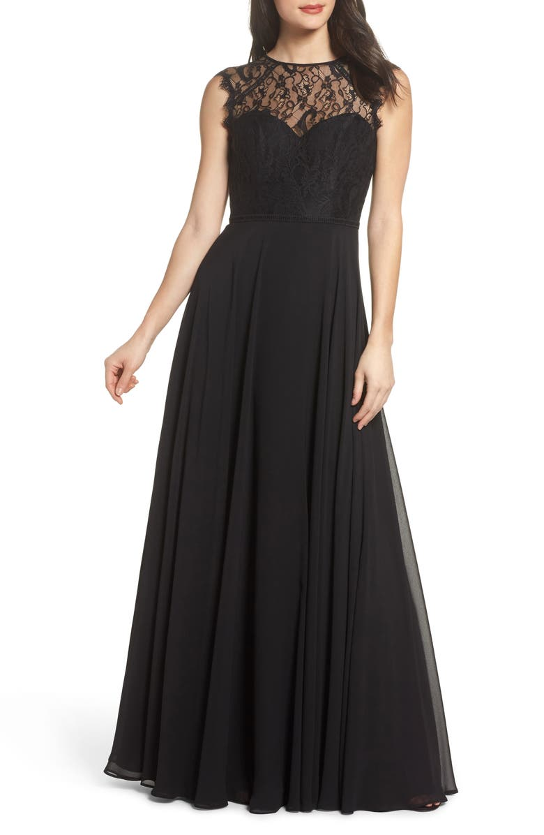 HAYLEY PAIGE OCCASIONS Lace & Chiffon Gown, Main, color, Black