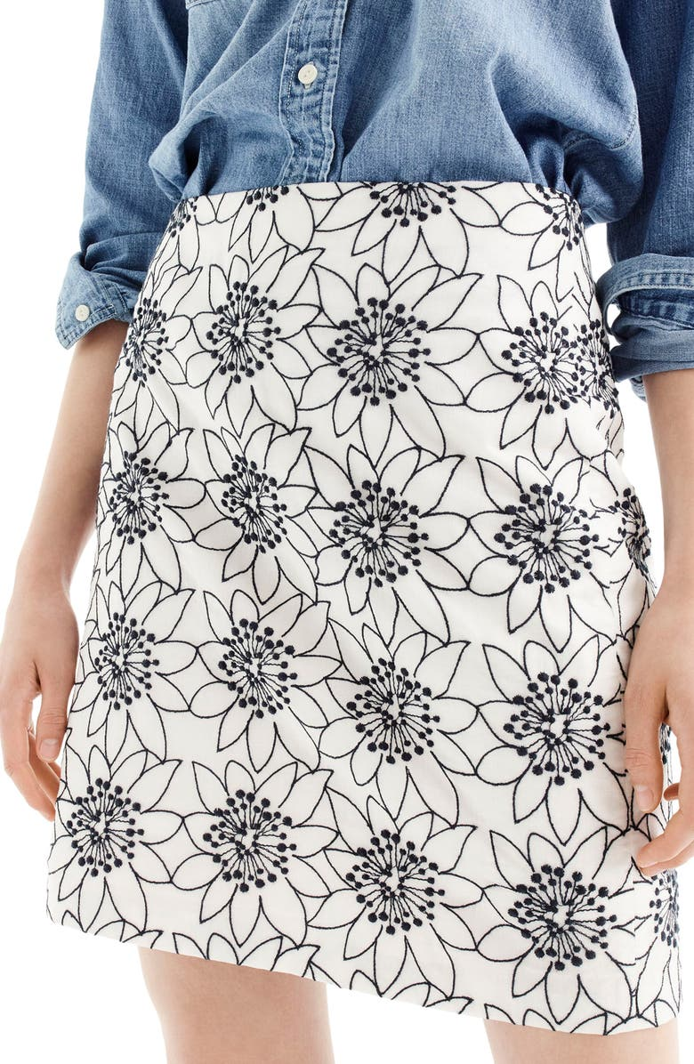 J.CREW Embroidered Floral Miniskirt, Main, color, IVORY NAVY