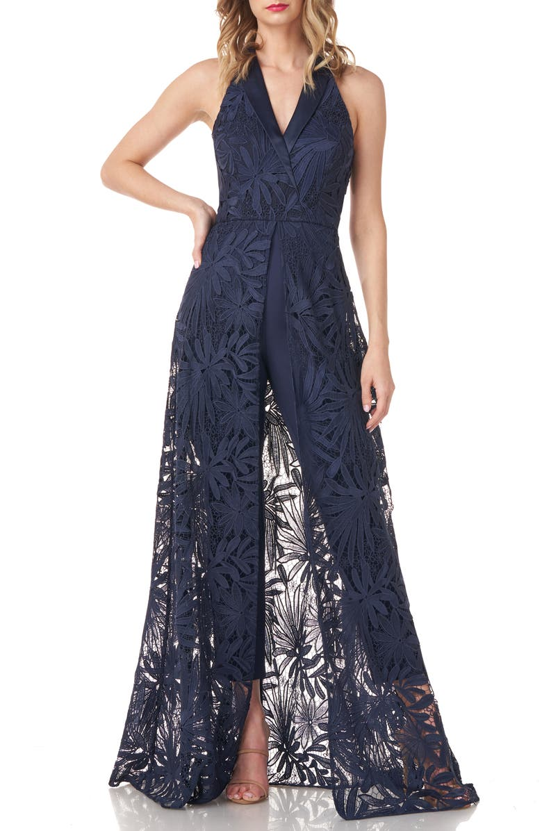 KAY UNGER Lace Maxi Romper, Main, color, MIDNIGHT