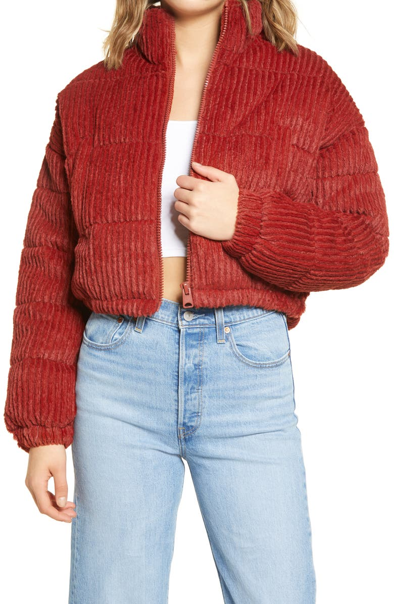 BDG URBAN OUTFITTERS Fluffy Corduroy Crop Puffer Jacket, Main, color, RED