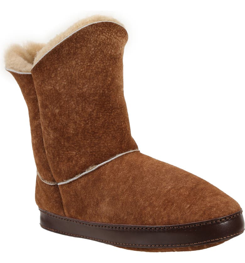 ROSS & SNOW Gemma Genuine Shearling Slipper Bootie, Main, color, STONE WASHED COGNAC
