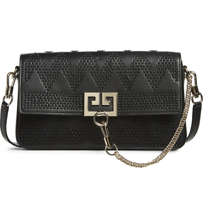 GIVENCHY Chevron Studded Leather Shoulder Bag, Main, color, 001