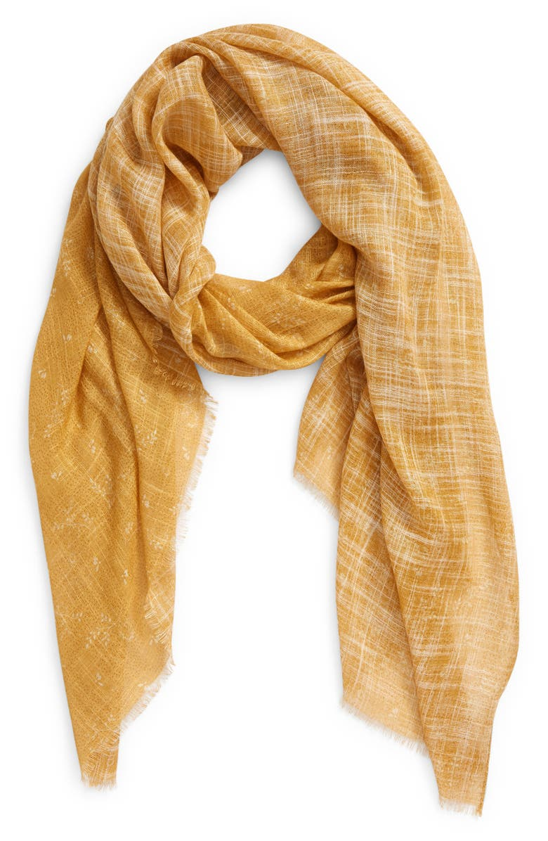 TREASURE & BOND Relaxed Scarf, Main, color, TAN DOTTED SPRIGS