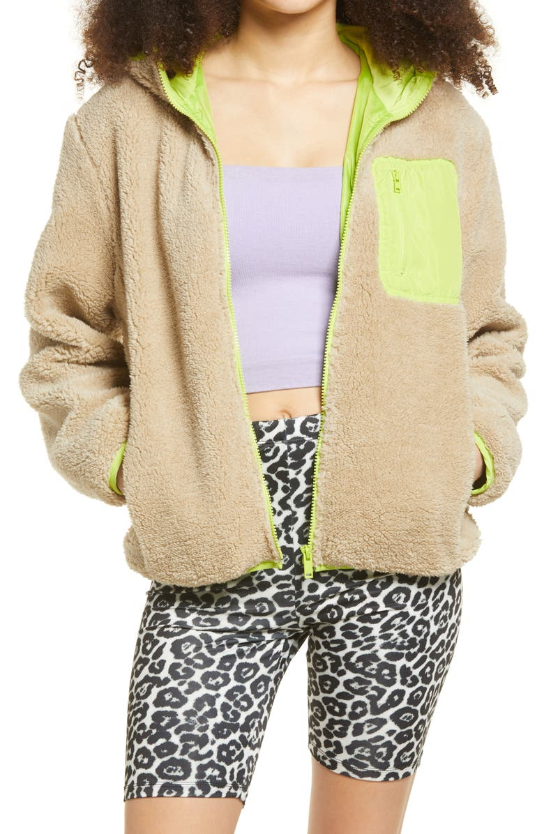 BP. Faux Shearling Jacket, Main, color, BEIGE- YELLOW NEON