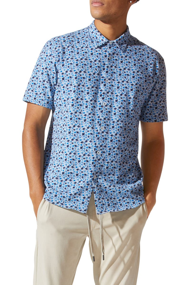 GOOD MAN BRAND Knit Short Sleeve Button-Up Shirt, Main, color, BLUE HEATHER VENICE VINES