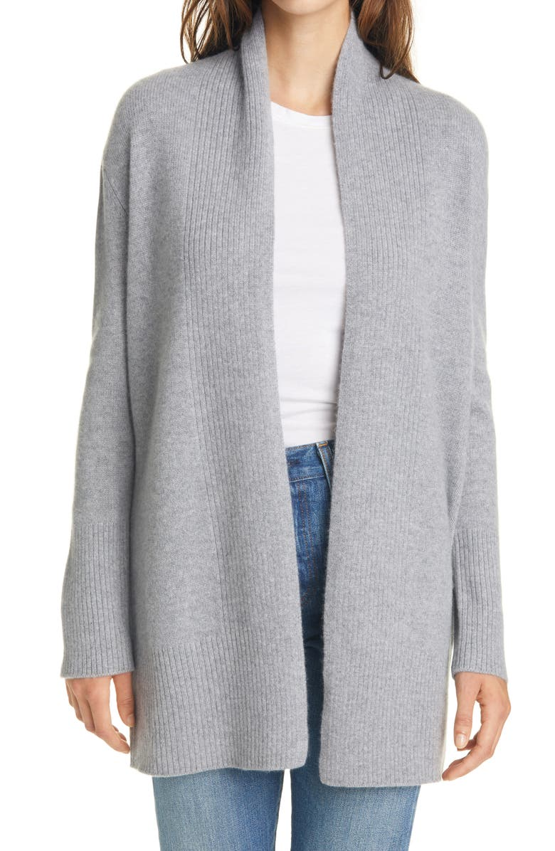 NORDSTROM SIGNATURE Open Front Cashmere Cardigan, Main, color, GREY HEATHER