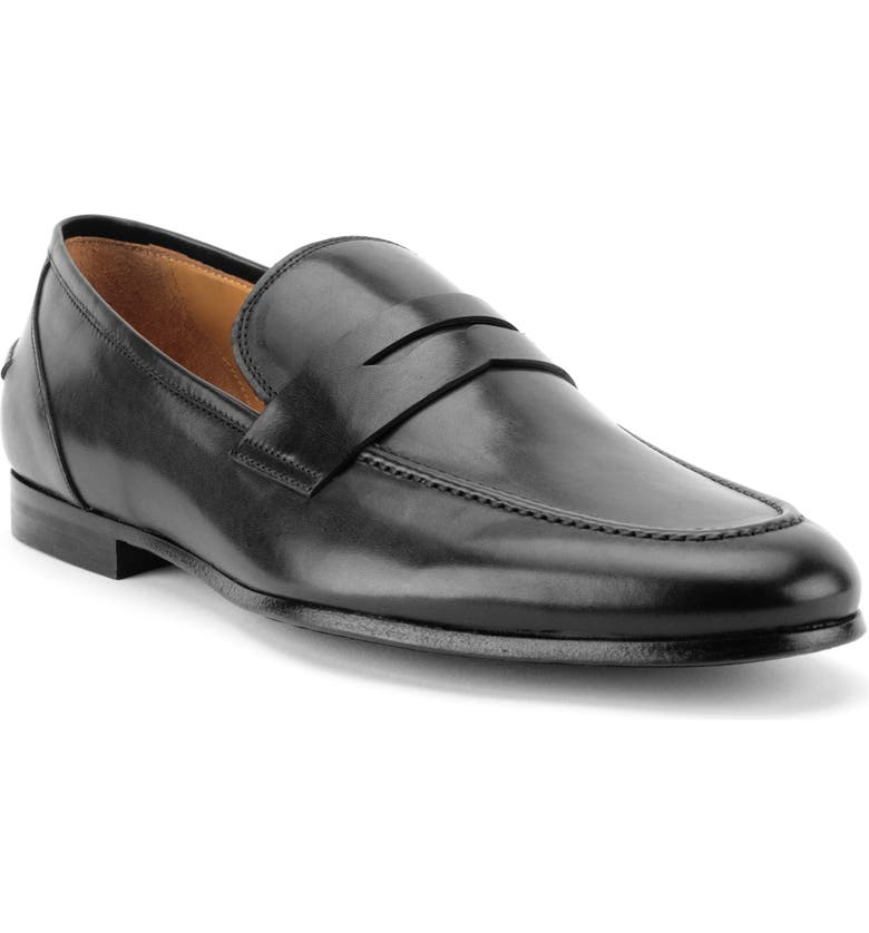 GORDON RUSH Coleman Apron Toe Penny Loafer, Main, color, BLACK LEATHER