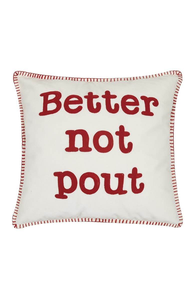 PEKING HANDICRAFT White/Red Better Not Pout Crewel Embroidered Pillow, Main, color, WHITE W/ RED